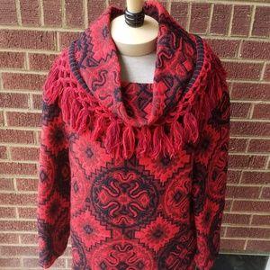 Vintage ethnic wool fringed tunic